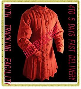 Gambeson Medieval Padded wear under chaIn mail wearer RED color Jacket costume