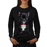Wellcoda Fancy French Bulldog Womens Sweatshirt, Black Casual Pullover Jumper