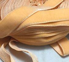 Vintage French Rayon VELVET Ribbon - Satin Back - LT ORANGE by the yard 3/4 inch