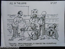 """CLIFFORD C LEWIS """"CLEW"""" Original Pen & Ink Cartoon - Dirty Boxer, Boxing #333"""