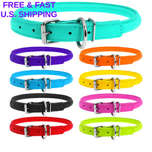 HANDMADE Leather Dog Collar Rolled Soft Padded Round All Size 7 Colors RAINPROOF