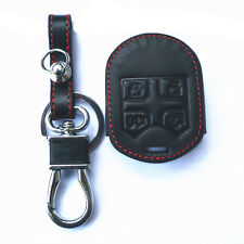 New Black Genuine Leather 4 Buttons Remote Smart Key Chain Cover Case For Ford