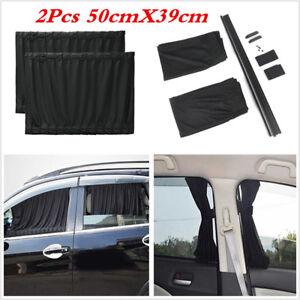 2X Black Mesh Interlock VIP Car Window Curtain Sunshade Visor UV Block 50cmX39cm