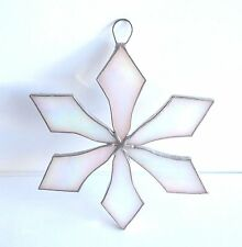 Lot of 10  Stained Glass Flat SNOWFLAKE  WHITE   Christmas Ornaments !