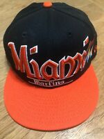 Black Miami Marlins MLB New Era Snapback Baseball Hat Cap - 1 Size Fits Most