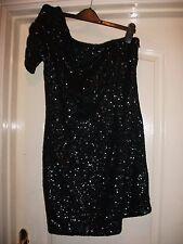 NEW LOOK BLACK SPARKLY EMBELLISHED SEQUIN COVERED ONE SHOULDER SLEEVE LBD DRESS