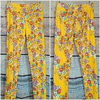 Women's lularoe Pants Hippie Yoga Dance Boho leggings floral print yellow EUC