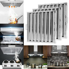 More details for 2/6x catering curved baffle grease filter stainless steel canopy extraction hood