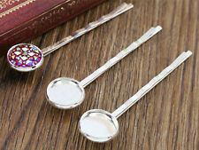 Silver Plated Hairgrips With 12mm Cabochon Settings | Pack of 10