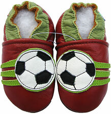 carozoo soccer dark red 2-3y soft sole leather toddler shoes