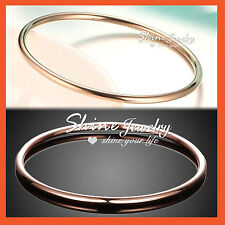 9K 9CT ROSE GOLD FILLED WOMENS GIRLS SOLID PLAIN ROUND GOLF BANGLE BRACELET 75MM