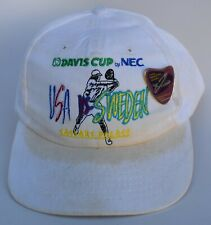 Davis Cup USA vs SWEDEN 1995 Caesars Palace Baseball Cap Hat Attached Pin Adj