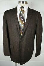 Vintage 1950s 1960s Promenade Brown Black Stripe Tweed Sport Coat 3 Button 42L
