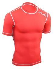 Maglie e top da uomo rossi a manica corta compressione per palestra, fitness, corsa e yoga