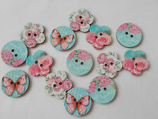 10 WOOD SEWING BUTTON FLOWER/BUTTERFLY PATTERN MIXED CRAFTS/SCRAP BOOKING (##)