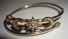 Victorian 9ct 9k Media Luna Estrellas De Oro Pulsera Brazalete De Perlas De Semillas Tamaño Pequeño