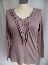 Garnet Hill Brown Ruffle Front Knit Top Long Sleeve Women's M Medium