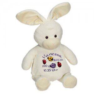 Plüschtier, Kuscheltier, Baby-Geschenk individuell bestickt, Kaninchen