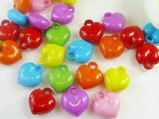50 x Mixed Candy Colors Heart Acrylic Beads Charms Pendants Jewelry Crafts USA