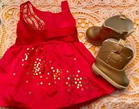 Authentic American Girl Doll Clothes SAIGE SPARKLE DRESS-GOLD BOOTS