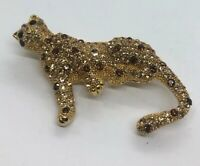 Vintage Brooch Pin Gold Tone Cat Rhinestone