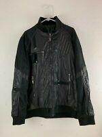 Emporio Armani Black Zip Up Polyester Amazing Mens Motorcycle Jacket XL Rare