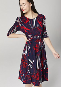 J by Jolie Moi Printed 3/4 Sleeve Knee Length Dress, Size 16, Navy Abstract BNWT