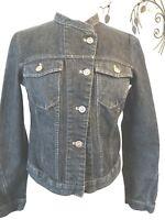 Garnet Hill Denim Jean Jacket, Chic Button Front Pockets Mandarin Collar Size 6