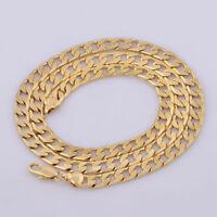 Gold Chunky Ring flache Panzerkette solide Frauen Männer Halskette Schmuck