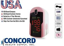 Fingertip Pulse Oximeter with case, lanyard and batteries-The Concord Pink