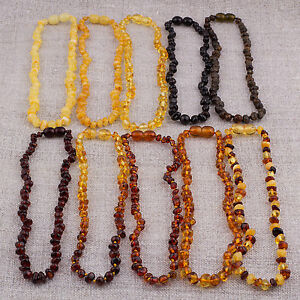 Natural Baltic Amber Baby Necklaces with Rounded beads Wholesale Lot 10