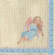 2 Serviettes en papier Anges sur tricot Decoupage Paper Napkins cute Angel