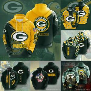 Green Bay Packers Hoodies Mens Football Hooded Sweatshirt Casual Jacket Pullover