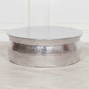 Shiny Silver Finish Hammered Aluminium Low Round Coffee Table