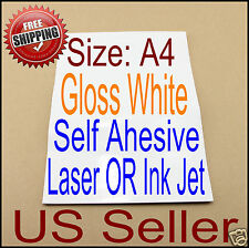 20x A4 Printable Gloss White Self Adhesive Sticker Paper Ink Laser Printer