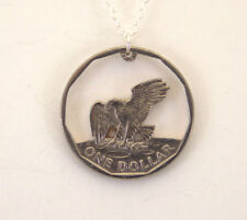 Eagle Landing on the Moon With Rim, Cut-Out Coin Jewelry, Necklace