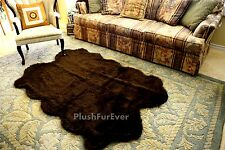 3' x 5' chocolate brown quattro four sheepskin pelts plush faux fur area rugs f8