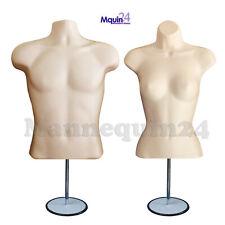 Flesh Male & Female Torso Dress Form Mannequin Set w/ Stands + Hanging Hooks