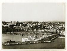Cannes 1935 : vue aérienne sur le Port & les Yachts de Luxe - Photo Vintage