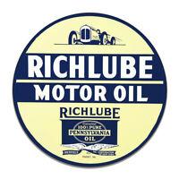 Richlube Richfield Pennsylvannia Gasoline Gas Round MDF Wood Sign