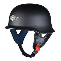 DOT Motorcycle German Half Face Helmet Matte Black Chopper Cruiser Biker M/L/XL