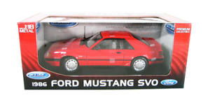RARE WELLY 1986 FORD MUSTANG SVO RED 1/18 DIECAST CAR