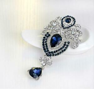 Crystal Brooch Rhinestone Elegant Silver Tone Flower Crown Droplets Blue Jewelry