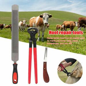 4*Horse Farrier Tool Kit Grooming Hoof Knife Shoe Nail Puller Nipper Clincher