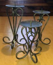 3 URBAN ABSTRACT METAL ANTIQUE BRONZE PILLAR CANDLE HOLDERS AGED LOOK USED