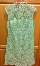 Vintage Lace Sea Foam Green Dress Joan Claire Inc. Size 12 1960s 60s