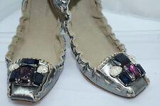 NUEVO Miu Miu PLATA Zapatos manoletinas planas Talla 36.5 Mujer Cuero