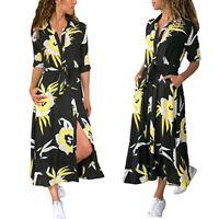 Women's Summer Boho Floral Long Sleeve Long Maxi Dress Party Beachwear Sundress