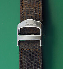 Vintage 1980's Cartier Stainless Steel Deployment Buckl w/ GENERIC LEATHER BAND
