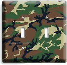 GREEN MILITARY ARMY CAMO CAMOUFLAGE DOUBLE LIGHT SWITCH WALL PLATE MAN CAVE DECO